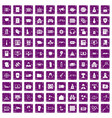 100 hacking icons set grunge purple vector image vector image