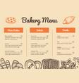bakery hand drawn restaurant menu template vector image