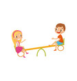 boy and girl riding on seesaw kids on a vector image vector image
