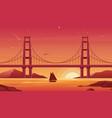 bridge and boat at sunset flat vector image