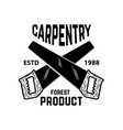 carpentry emblem template with cutting wood and vector image