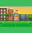 cartoon background with sport field in city landsc