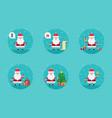 cartoon santa claus in flat style vector image