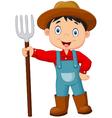 Cartoon young farmer holding rake vector image vector image