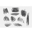 chaotic charcoal scribble set vector image