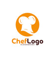 chef hat logo template chef emblem design food vector image