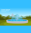 city park fountain green grass trees cityscape vector image