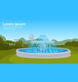 city park fountain green grass trees cityscape vector image