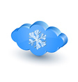 Cloud and snowflake icon vector image vector image