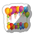 colored many party balloon with serpentine icon vector image vector image