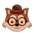 cute scribble vintage fox face vector image vector image
