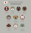 dogs by country of origin japanese dog breeds vector image vector image