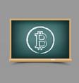 drawing bitcoin school blackboard vector image