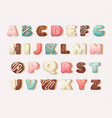 english sweet donut alphabet childrens alphabet vector image vector image
