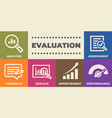 evaluation concept with icons and signs vector image vector image