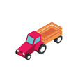 farm tractor with trailer transport rural vector image