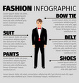 fashion infographic with man in suit vector image vector image