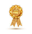 golden like heart medal template vector image