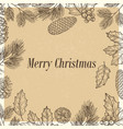 grunge christmas poster with branches and cones vector image
