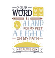 hand lettering your word is a lamp for my feet a vector image vector image