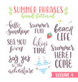 hand written summer lettering phrases vector image