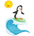 Happy penguin cartoon surfing vector image vector image