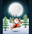 happy santa claus riding a reindeer on a snowy gar vector image vector image