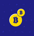 illsutrated trendy flat two coins bitcoin symbol vector image vector image