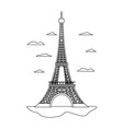 line eiffel tower structure and nice clouds vector image vector image