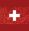 luxury red glitter swiss switzerland country flag vector image vector image