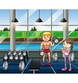 Man and woman working out in the gym vector image
