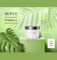 moisturizing cosmetic products ad green background