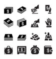 money hand saving money gold investment icon set vector image