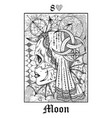 moon symbol tarot card from lenormand gothic vector image