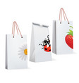 paper bags with adybird strawberry chamomile vector image vector image