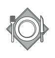 plate with fork and knife on napkin cutlery or vector image