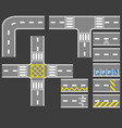 road with white line collection set vector image