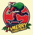 santa skate badge design vector image vector image