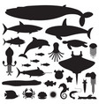 sea life and underwater animals icons vector image vector image
