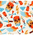 Seamless background with skull and elements vector image vector image