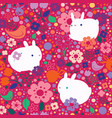 seamless easter pattern with flowers and rabbits vector image vector image