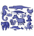 set many animals in blue vector image vector image