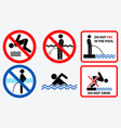 set of prohibition in the pool sign vector image