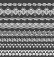 set of seamless borders black and white lace vector image vector image