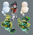 set of three figures of pirates and two ghosts vector image vector image