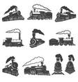set of vintage trains isolated on white background vector image vector image