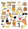 set pirates cartoon objects adventures vector image vector image