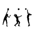 silhouettes of girls classic volleyball vector image vector image