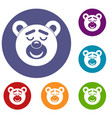 sleeping teddy bear icons set vector image vector image