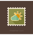 Sun and cloud flat stamp Meteorology Weather vector image